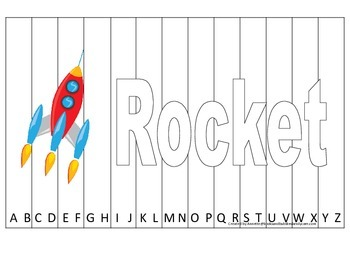 Alphabet Sequence Spelling Puzzle.  Spell Rocket. Preschool learning game.