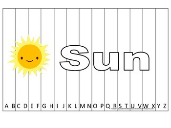 Alphabet Sequence Spelling Puzzle.  Spell Sun. Preschool learning game.