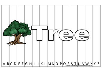 Alphabet Sequence Spelling Puzzle.  Spell Tree. Preschool learning game.