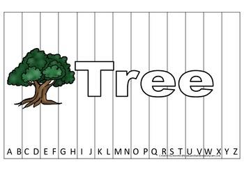 Alphabet Sequence Spelling Puzzle.  Spell Tree. Preschool