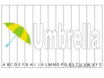 Alphabet Sequence Spelling Puzzle.  Spell Umbrella. Preschool learning game.