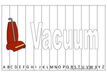 Alphabet Sequence Spelling Puzzle.  Spell Vacuum. Preschoo