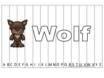 Alphabet Sequence Spelling Puzzle.  Spell Wolf. Preschool learning game.