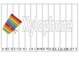 Alphabet Sequence Spelling Puzzle.  Spell Xylophone. Preschool learning game.