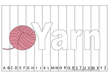 Alphabet Sequence Spelling Puzzle.  Spell Yarn. Preschool learning game.