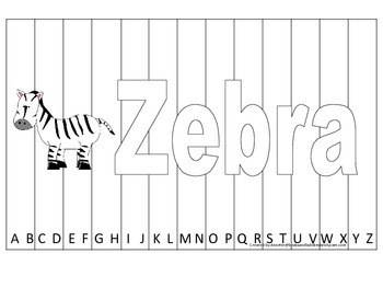 Alphabet Sequence Spelling Puzzle.  Spell Zebra. Preschool learning game.