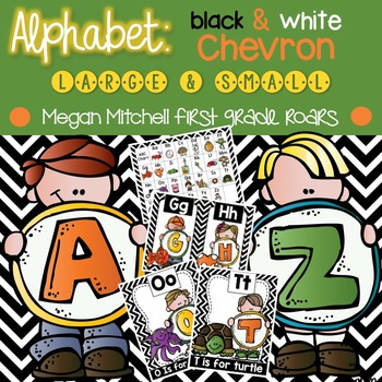 Alphabet Set: Black & White Chevron