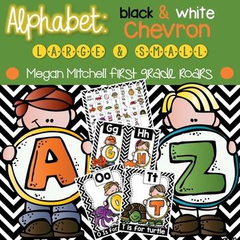 Alphabet Set: Black & White Chevron