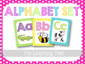 Alphabet Set {Bright Polka Dots}