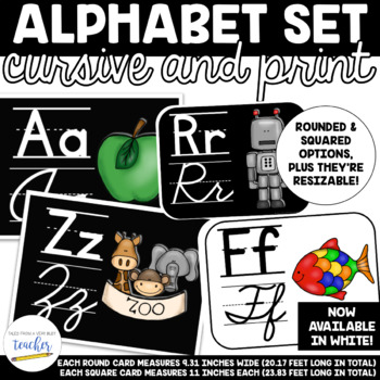 Alphabet Set {Cursive and Printing} BLACK AND WHITE OPTIONS!