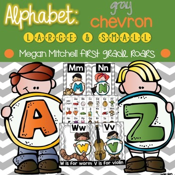 Alphabet Set: Gray Chevron