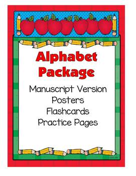Alphabet Set -- Posters, Flashcards and Practice Pages (Manuscript)