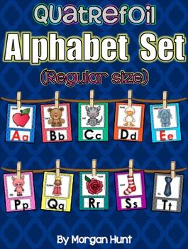 Quatrefoil Alphabet Set (Regular-size) with Word Wall Cards