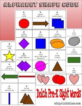 Alphabet Shape Code, Dolch Pre-K Sight Words