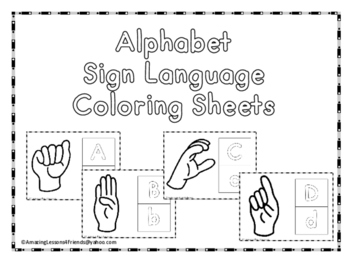 American Sign Language Coloring Worksheets Teaching Resources Tpt