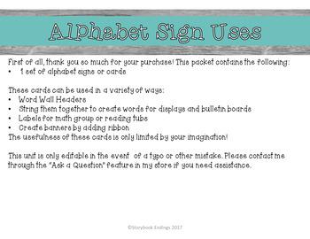 Alphabet Signs: Turquoise, Orange, Blue, Yellow, and Green Diamonds