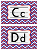 Alphabet Signs Word Wall Letters - Red White Blue Chevron