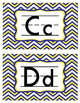 Alphabet Signs Word Wall Letters - Yellow White Blue Chevron