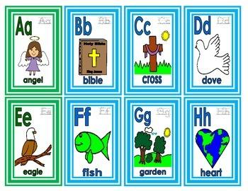 Alphabet Christian Theme Flashcards