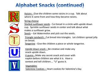 Alphabet Snacks from A to Z