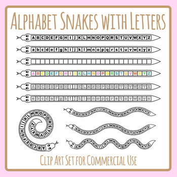 Alphabet Snakes with Letters - Learning Alphabetical Order Clip Art Set