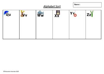 Alphabet Sort - Animals - Beginning Sounds Game - Phonics