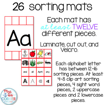 Alphabet Sorting Mats { 26 mats - 386 pieces } for Students with Special Needs