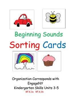 Alphabet Sorting Picture Cards: Letters Beginning Sounds Pocket Chart