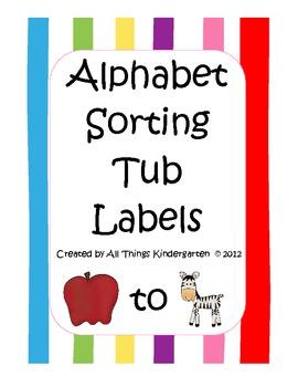 Alphabet Sorting Tub Labels