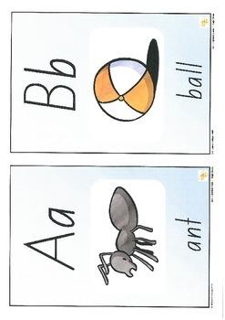 Alphabet Sound Display Cards/lower case+upper case+picture+word