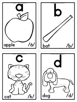 Phonics - Alphabet/Sound Flash Cards (Black and White Edition)