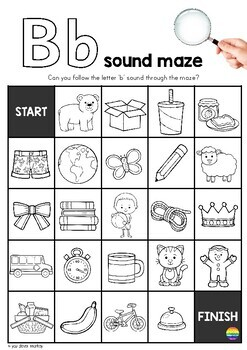 Alphabet Sound Mazes - black and white version