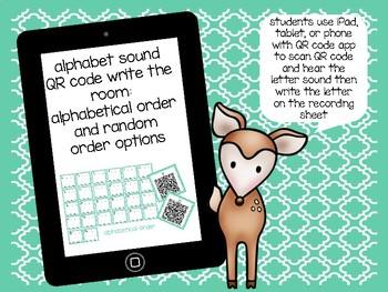 Alphabet Sound QR Code: Write the Room Cards and Recording Sheets