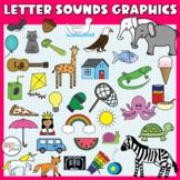 Alphabet Sounds Clip Art: Phonics Graphics for Commercial Use, color & line art