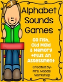 Literacy Center Alphabet Sounds Games (Old Maid, Go Fish and Memory