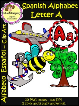 Spanish Alphabet Letter A - Clip Art / Alfabeto letra A (School Design)