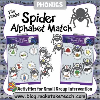 Alphabet - Spider Themed File Folder Alphabet Match