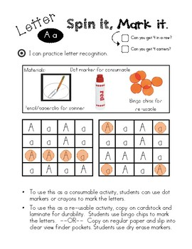 Alphabet Spin It, Mark It!