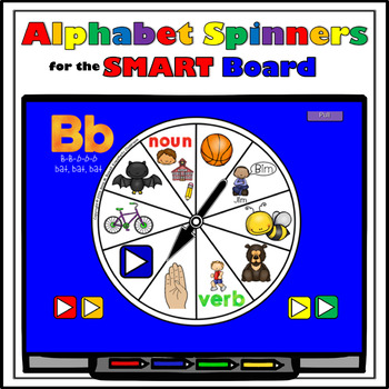 SMARTBoard Lesson - Alphabet Spinners - Letter Sounds - Move Your Body!