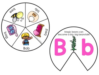 Alphabet Spinners with Beginning Sounds and CVC Words