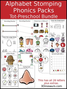 Alphabet Stomping Phonics Packs Tot-Preschool Bundle