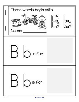 alphabet booklets beginning sounds cut and paste b w by kidsparkz. Black Bedroom Furniture Sets. Home Design Ideas