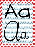 Alphabet Strip - Print and Cursive - Nautical Theme