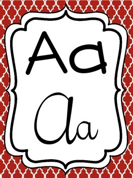 Alphabet Strip - Print and Cursive - Red Damask