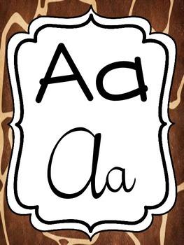 Alphabet Strip - Print and Cursive - Safari Theme