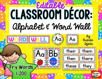 Alphabet Strip and Word Wall: 200 words