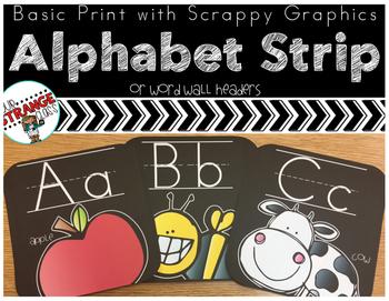 Alphabet Strip in Black: Scrappy Graphics Edition