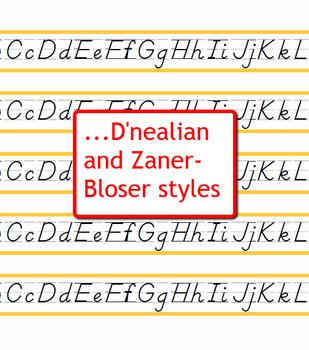Alphabet Strips for Student Desks - Cursive, Manuscript, D'Nealian, Zaner-Bloser