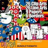 Alphabet Superhero Clip Art Bundle Big Letters: Clipart, Borders, Digital Papers