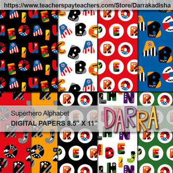 Alphabet Superhero Clip Art Bundle Big Letters: Clipart, Borders, Digital Papers